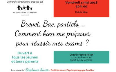 Brevet, Bac, partiels … Comment bien me préparer pour réussir mes exams – conférence gratuite le 4 mai à Juvisy