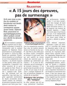 Parution d'un article sur mes recommandations à 15 jours des épreuves du baccalauréat dans le journal Le Républicain du 31 mai 2018