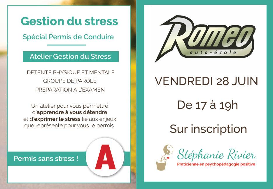 Atelier gestion du stress au permis de conduire à l'auto-ecole Roméo de Juvisy sur orge