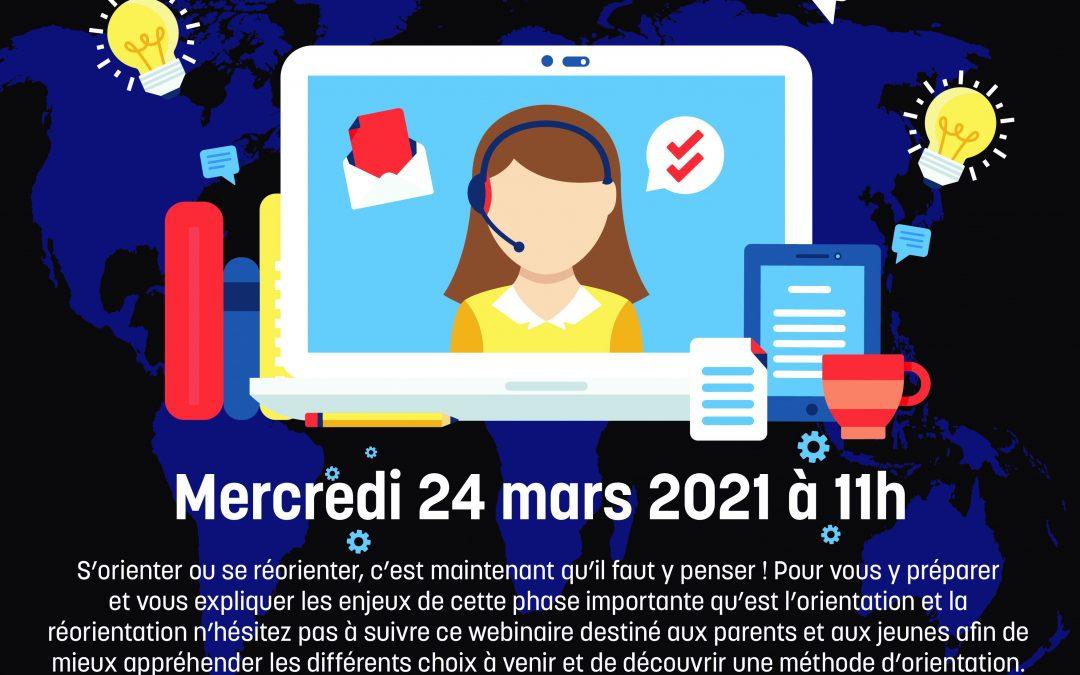Save the date ! Webinaire «s'orienter ou se réorienter» en live le 24 mars dès 11h.