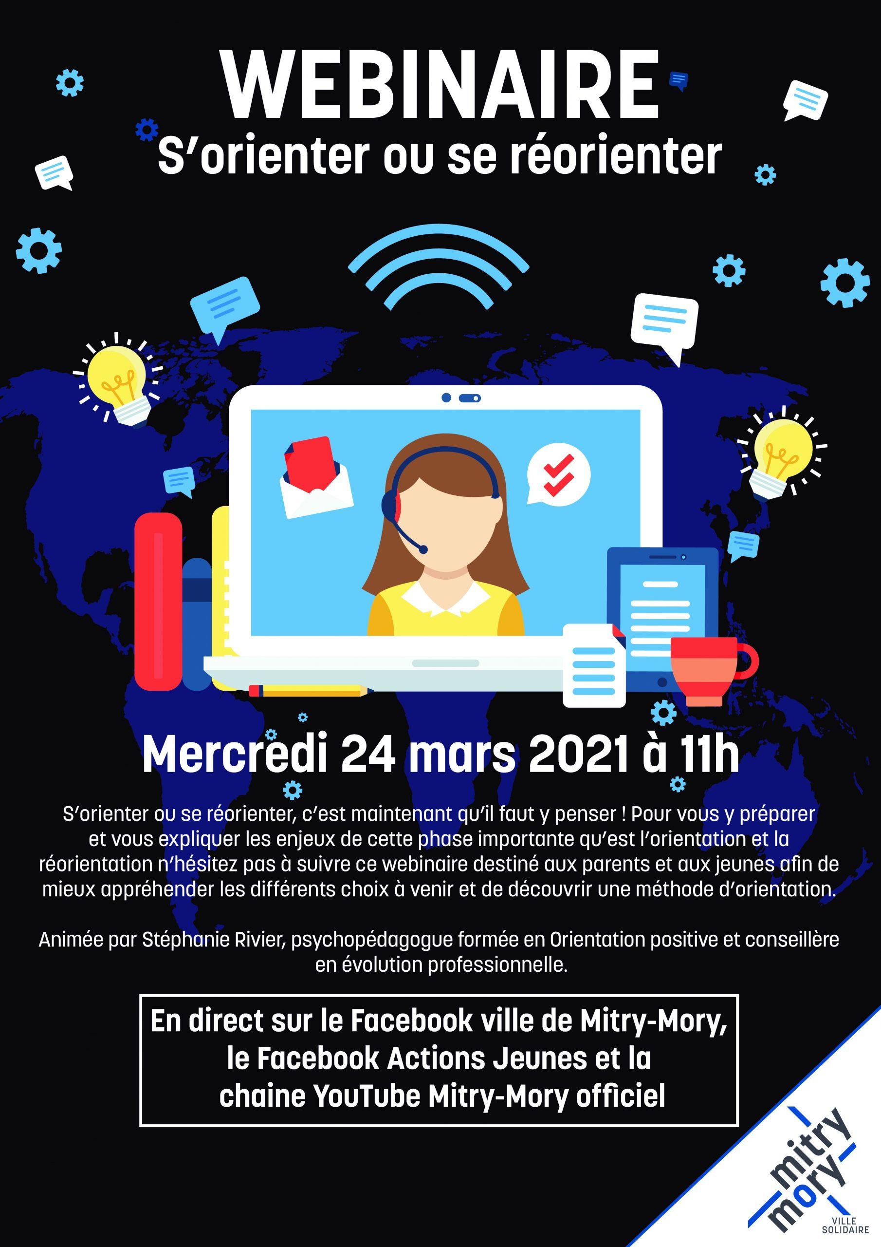 Webinaire s'orienter ou se ré-orienter le 24 mars facebook Mitry Mory